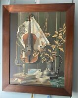 Paint By Number MUSIC and MEMORIES VIOLIN STILL LIFE Vintage FRAMED