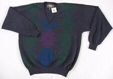 NWT Vintage Ralph Lauren Men's Lambs Wool Blend LS V-Neck Geometric Sweater - XL