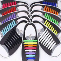 16Pcs No Tie Shoelaces Lazy Elastic Silicon Shoe Laces For Easy Sneakers Running