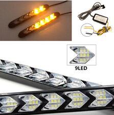 Pair 18cm LED Light Strip Tube Switchback White/Amber Flexible DRL Turn Signal