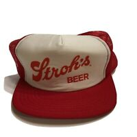 Vintage Stroh's Snapback Beer Trucker Half Mesh Hat Brewed Cap Red Made In USA