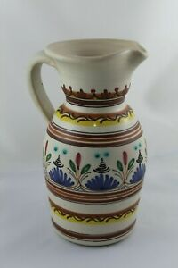 Jug Of Ceramic Bridge of The Archbishop Painted Hand, Signed Hvr and Numbered