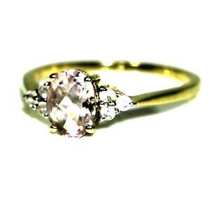9ct 9k Gold Morganite White Topaz Ring Size 9 1/4 - S