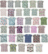 365 Work & Wear Zikit Womens Fashion Medical Nursing Scrub Tops Printed XS-4XL