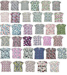 365 Work & Wear Zikit Womens Fashion Medical Nursing Scrub Tops Printed XS-4XL