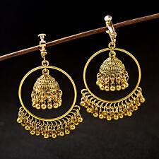 Vintage Indian Oxidized Golden Jhumki Earrings Bollywood Women's Fashion Jewelry