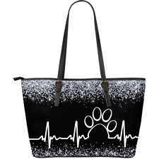 Paw Heartbeat Leather Tote Bag