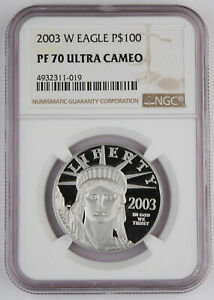 2003 W $100 1 Oz 9995 PLATINUM American EAGLE Proof Coin NGC PF70 UC