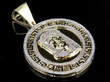 "10K Yellow Gold Genuine Diamond Greek Bezel Jesus Medallion Pendant 1/2 Ct 1.6"""