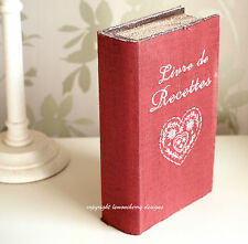 Shabby Vintage Style Trinket Red Book Box Storage Box Photo Recipe Book Box