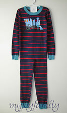 HANNA ANDERSSON Organic Long Johns Pajamas Train Navy Stripe 150 12 NWT