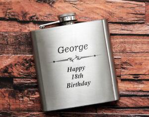 Personalised Engraved 6oz Hip Flask Mens Wedding Usher/Best Man Boyfriend Gift