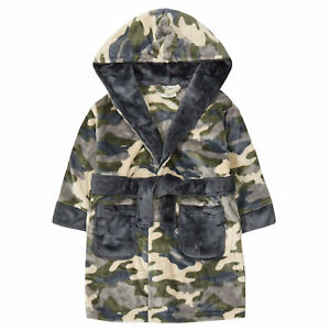 Childrens / Boys Camo Fleece Winter Dressing Gown - 2-13 Years
