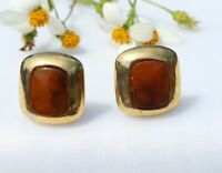 CLIP ON EARRINGS, vintage fashion brown clip-on earrings
