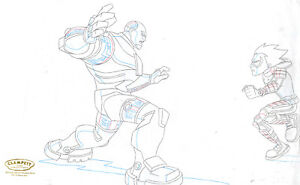 Teen Titans Animated Series Original Production Drawing-Robin and Cyborg