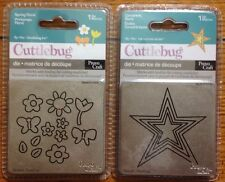 Lot of 2 Cuttlebug Dies Concentric Stars Spring Floral Flowers Butterfly NEW