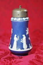 Antique Jasperware Wedgwood DARK BLUE Sugar Shaker Mufineer Greek White Scene