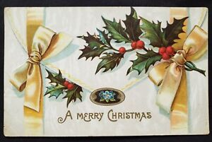 Antique Christmas Card die cut Embossed design Ribbon Corning Nevada 1912