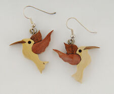 Wood Carved Humming Bird Hook Earrings Handmade by Wichi Indians in Argentina