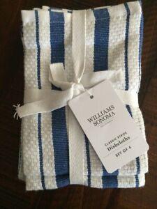 Williams Sonoma Classic Stripe blue Kitchen Dishcloth Towels Set of 4 New