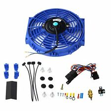 Blue10'' Electric Radiator Cooling Fan w/ &Thermostat Relay & Mounting Kits New