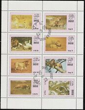 Dhufar (State of Oman) sheet of 8 Lion Stamps, Big Cats CTO Trucial State bogus
