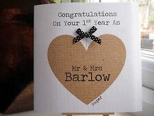 Modern Handmade Personalised 1st First Paper Wedding Anniversary Card MR & MRS