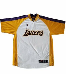 Vintage Los Angeles Lakers Nike Stitched Warm Up Shooting Shirt Jersey Men's L