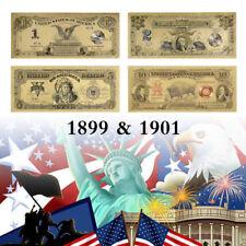 WR US Gold Foil Banknote Set 1899-1901 $1 $2 $5 $10 Novelty Note Collection