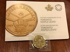2017 Toronto Maple Leafs 100th Anniversary $1 Dollar Loonie + Bonus Sleeve
