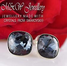 925 Silver Stud Earrings 10mm Fancy Stone GRAPHITE Crystals From Swarovski®