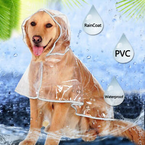 New Pet Small Large Dog Rain Coat Transparent Puppy Waterproof Hooded Clothes