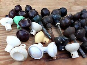 Pair 2 Vintage old Antique Black Brown Early Plastic & BAKELITE door Knobs (2)