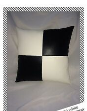 Accent Decorative leather pillow brown white throw case cover cushion