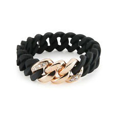 The Rubz Novelty Bracelet 100296 Black Crystal Mini 15 mm Metal with Silicone