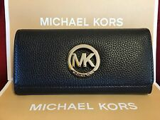 NWT MICHAEL KORS LEATHER FULTON FLAP CONTINENTAL WALLET IN BLACK