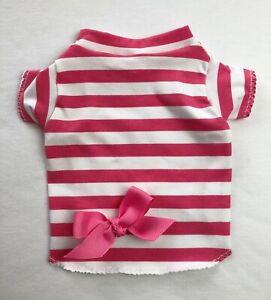 Pink Stripes Dog T-Shirt Clothes Size XXXS-Large