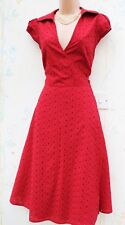 SIZE 10 50s RETRO STYLE COTTON BRODERIE ANGLAIS RED SUMMER DRESS ~ US 6 EU 38