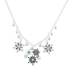 Lux Accessories Silver tone Christmas Xmas Holiday Snowflake Statement Necklace