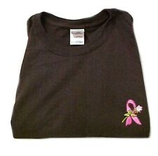 Breast Cancer T-Shirt Medium Pink Awareness Ribbon Rose Brown S/S Crew Neck New