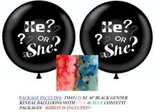 Gender Reveal Party Balloon He or She - 2 XL Balloons with Pink & Blue Confetti