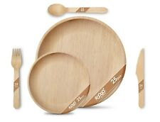 More details for 125pcs foogo green disposable palm leaf plates+ wooden cutlery set|eco-friendly