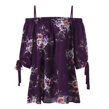 Latest Women Plus Size Floral Print Off Shoulder Blouse Casual Tops T Shirts