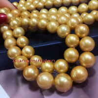 "AAAAA LONG 36""13-15mm Natural real south sea golden pearl necklace 14K gold"