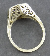 Womens14k White Gold Antique Setting Filigree Ring no stones jewelry size 7 gift