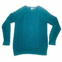 GAP Women's Teal Fisherman Cable Knit Cotton Pullover Crew Neck Sweater SZ L