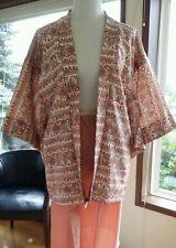 Handmade Vintage Japanese Kimono Haori Jacket Floral Print Cotton Short Wrap