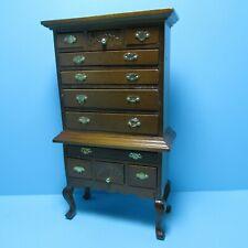 Dollhouse Miniature Queen Anne Highboy Dresser in Walnut ~ T6100