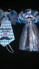 It's A Boy Baby shower mustache  mommy and daddy corsage and tie set