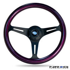 "NRG 2"" Deep Dish Wood Grain Wheel Purple with Black 3-Spoke Center 350mm"
